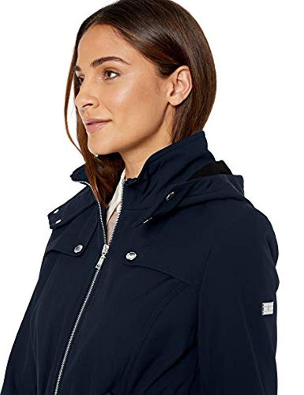Tommy Hilfiger Womens Belted Soft Shell Rain Coat with Zip Front and Hood