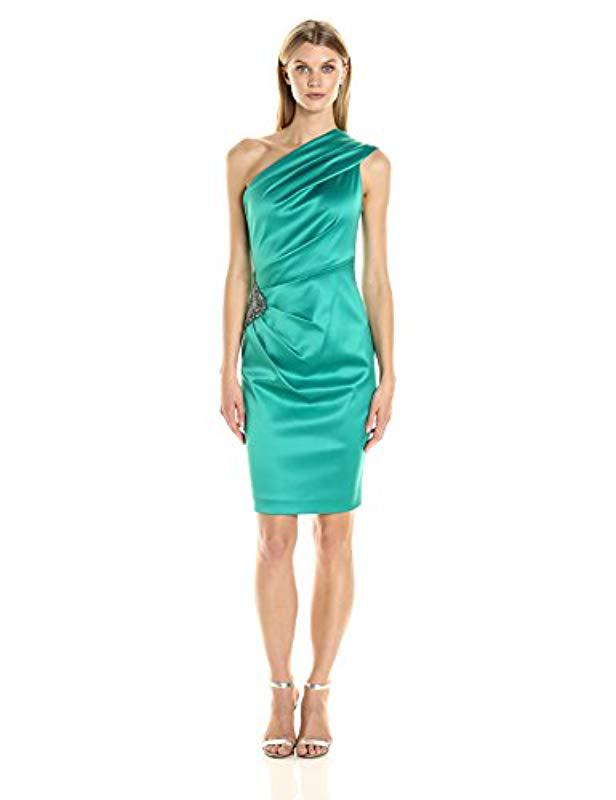 35383702df9ad Eliza J One Shoulder Dress With Beaded Detail in Green - Lyst