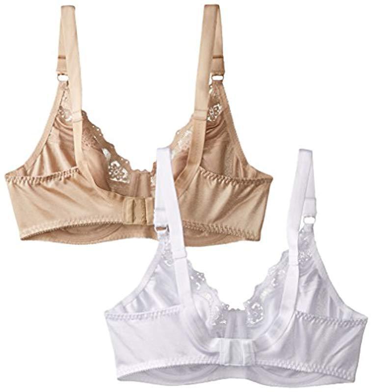 ed3d4509250fb Lyst - Hanes Lace Trim Underwire Bra 2-packwhite nude