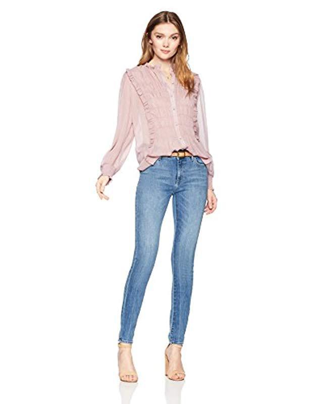 c8d9e98ca1e354 Lyst - Ella Moon Pilar Ruffle Collar Gathered Panel Long Smocked Cuff Top  in Pink - Save 18%