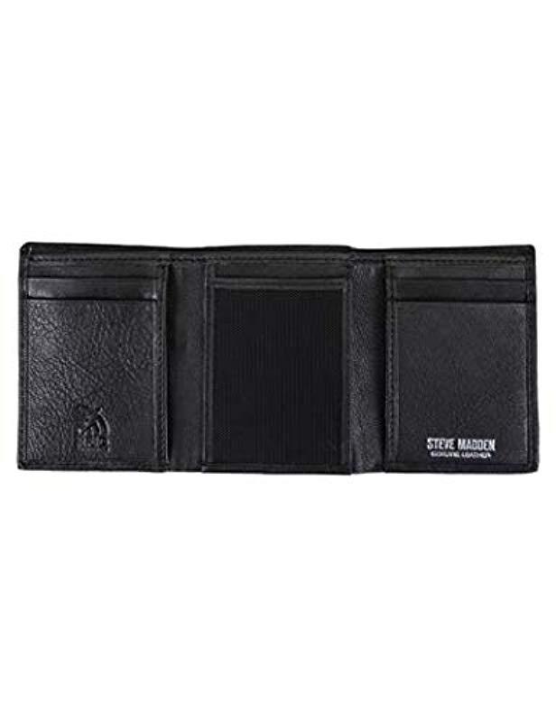 Steve Madden Rfid Leather Trifold Wallet In Black For Men Lyst