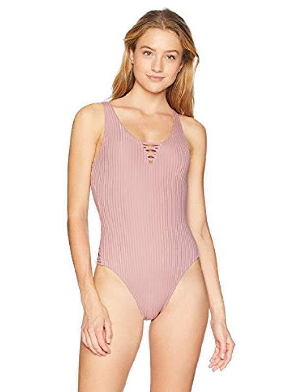 155a51aa133 Lyst - RVCA Rockaway Rib One Piece Swimsuit in Pink