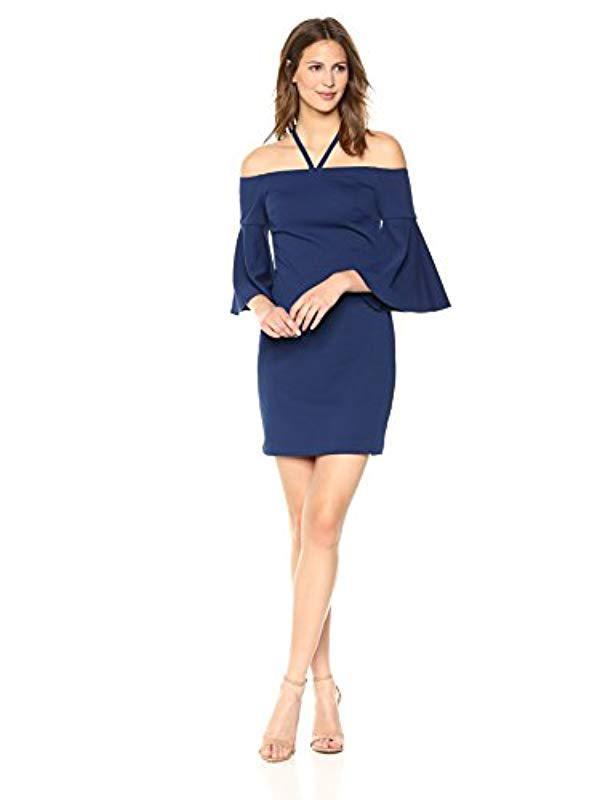 6f7edc84ce15c Trina Turk. Women s Blue Trina Shell Beach Off The Shoulder Bell Sleeve  Dress