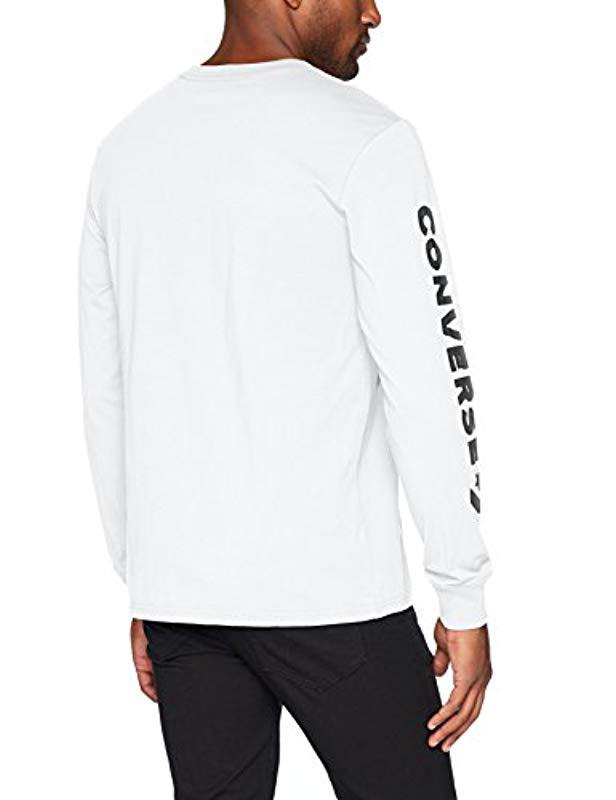 9c57a8c50fa9 Lyst - Converse Star Chevron Wordmark Long Sleeve T-shirt in White for Men  - Save 37%