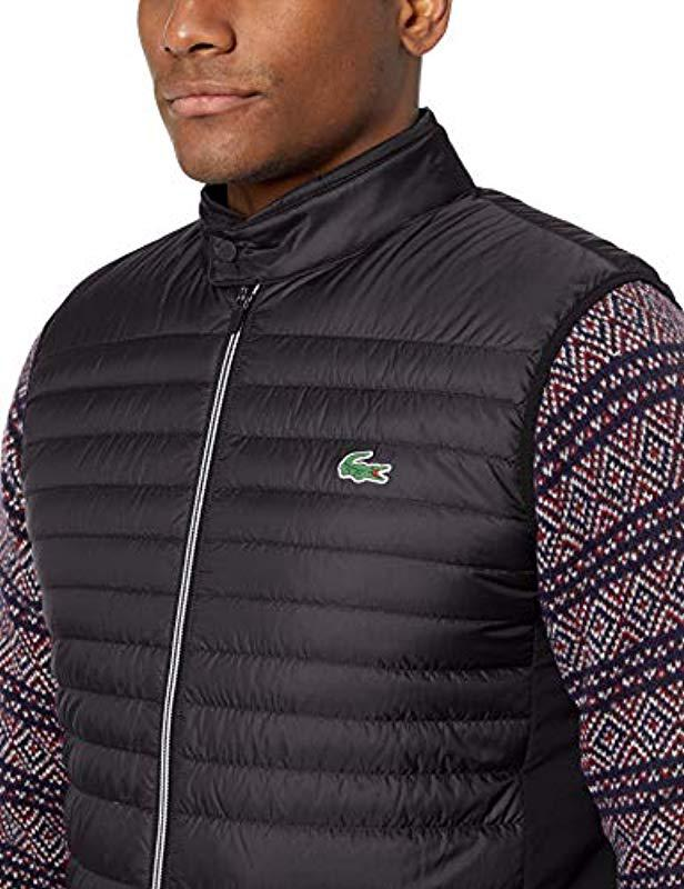 9dd9a8db1f Lyst - Lacoste Mixed Media Vest With Down Padding in Blue for Men