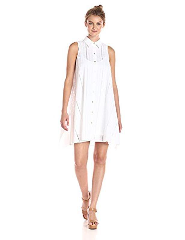 3ea40e8725c Calvin Klein. Women s White Shirt Collar Cotton Eyelet Button Front Trapeze  Dress