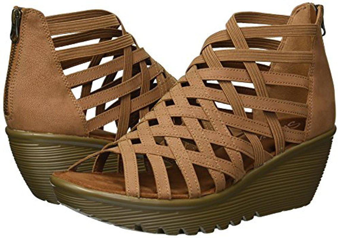 Skechers Parallel Dream Queen Wedge Sandal In Brown Lyst