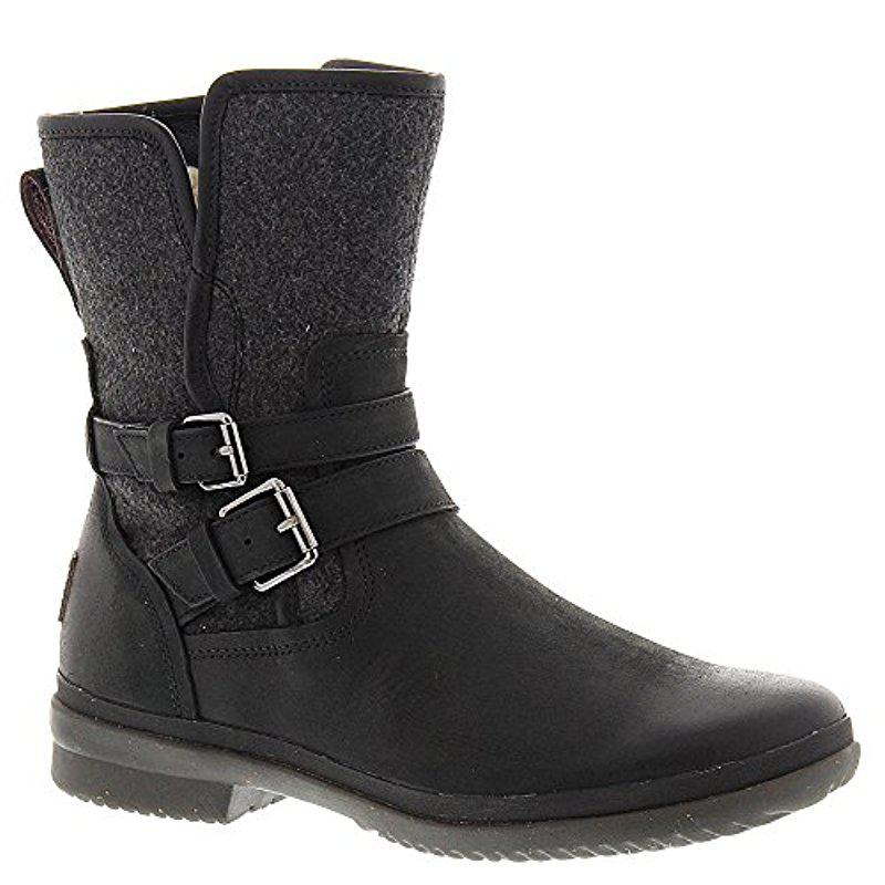 Lyst - UGG Australia Simmens Lined With Plush Wool Leather Boot in Black 3c5b4f287