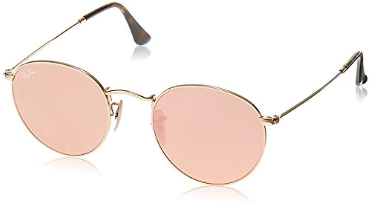 3d14d169435708 Ray-Ban Round Flat Lens Sunglasses In Gold Copper Flash Rb3447n 001 ...