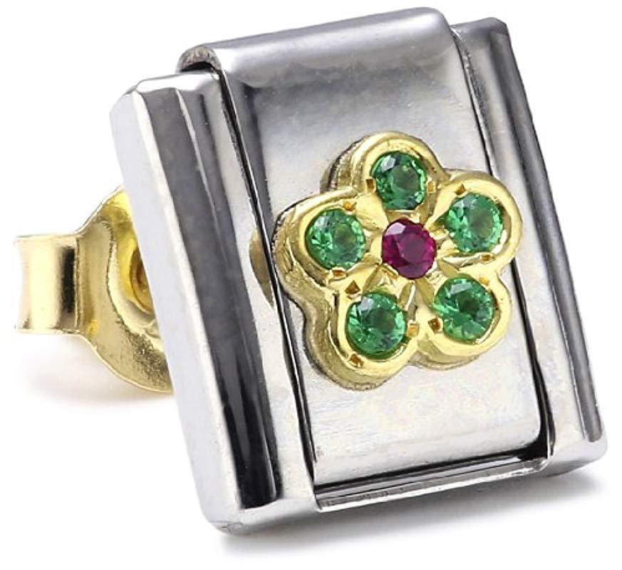 Nomination 030101 Maillon pour bracelet composable Mixte Lettre Initiale Acier inoxydable et Or jaune 18 cts