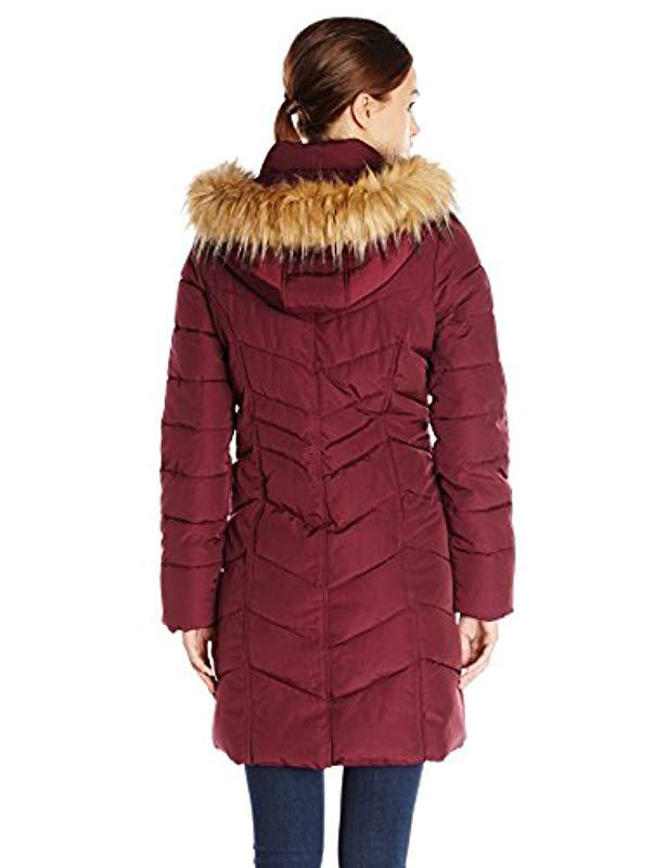 8dc195549d3f1 Lyst - Tommy Hilfiger Long Chevron Quilted Down Alternative Coat With Fur  Trim Hood in Red - Save 51.42857142857143%