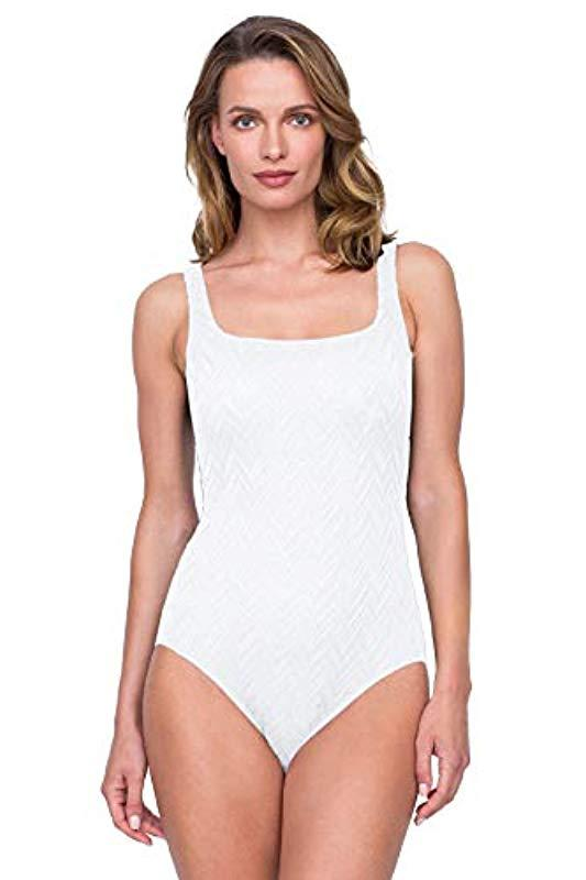 2d7122ad7e3 Lyst - Gottex Textured Square Neck One Piece Swimsuit in White - Save 1%