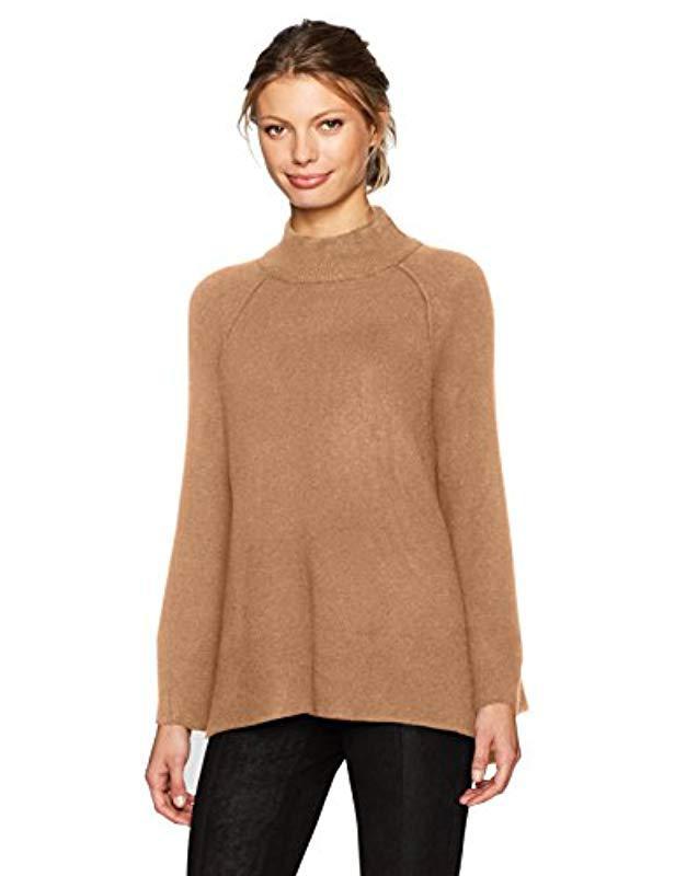 25796afd26 Lyst - Calvin Klein Mockneck Bell Sleeve Sweater in Brown