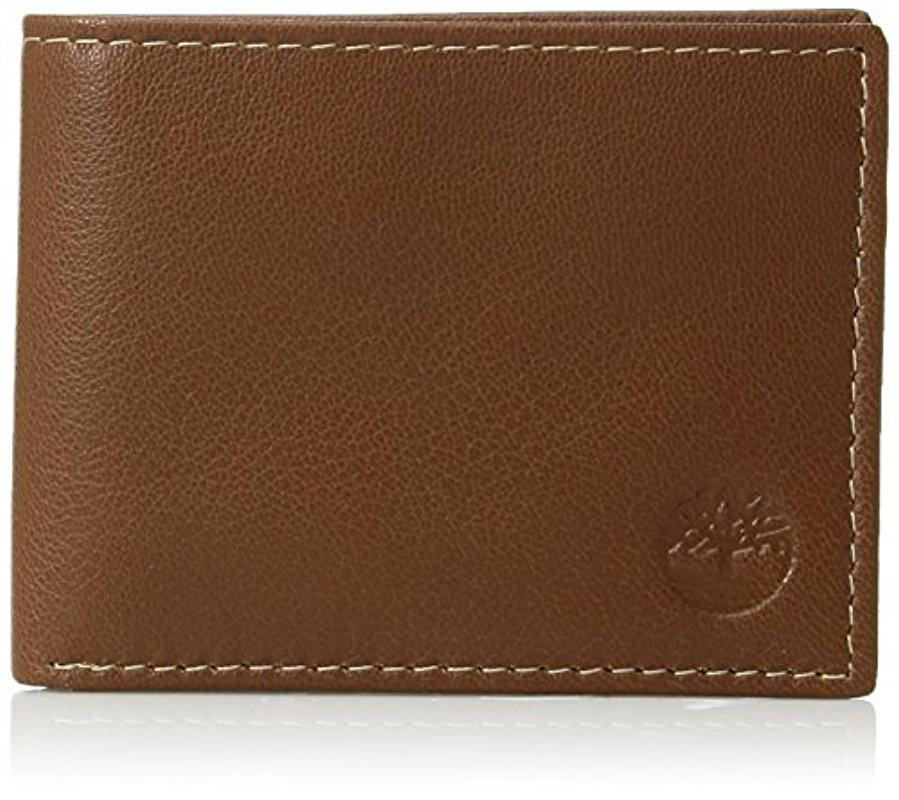 Timberland Blix Passcase Brown Genuine Leather Credit Card Bifold Mens Wallet