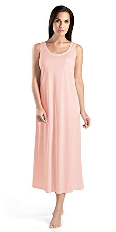 4148b8992aff Lyst - Hanro Cotton Deluxe Long Tank Nightgown in Pink