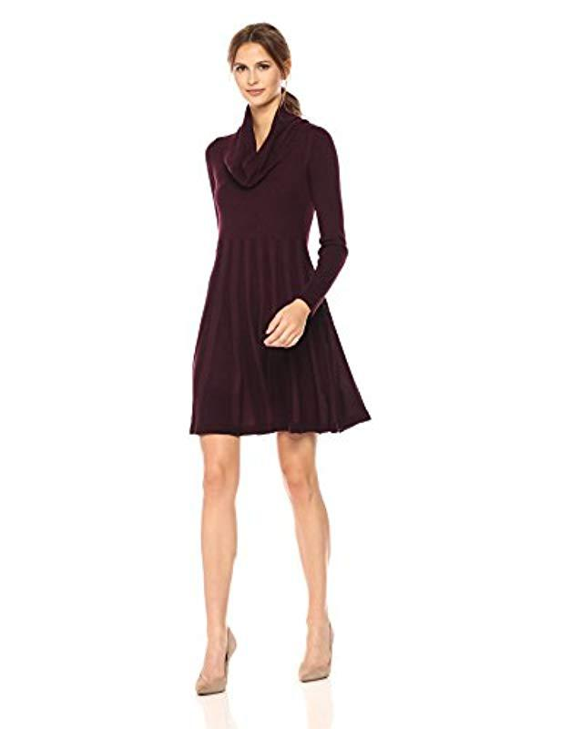 652cafecf94ad Lyst - Calvin Klein Long-sleeve Cowl-neck Fit & Flare Sweater Dress ...
