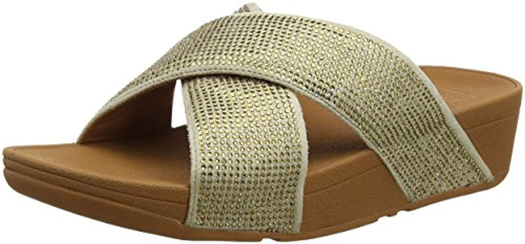 55812311338d Fitflop Ritzy Slide Open Toe Sandals in Metallic - Lyst