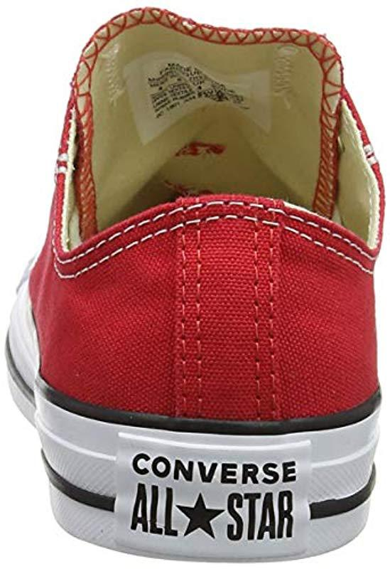 be602c66a24 Lyst - Converse Chuck Taylor All Star Canvas Low Top Sneaker in Red ...