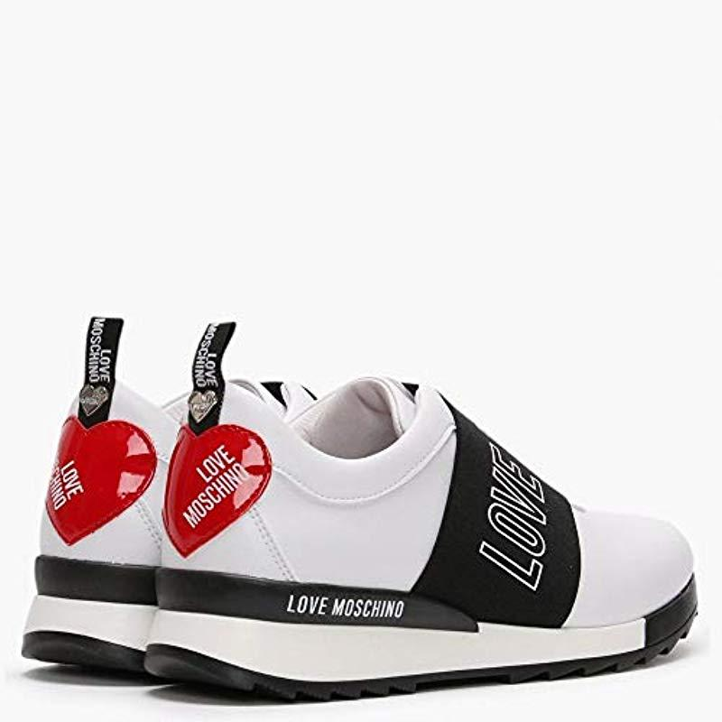 Love Moschino White Logo Strap Trainers