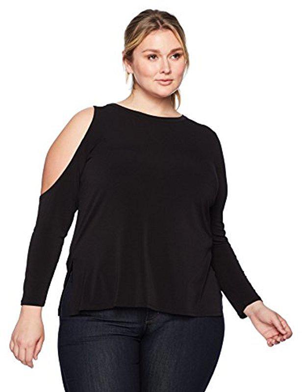 32d474cca5895 Lyst - RACHEL Rachel Roy Plus Size One Cold Shoulder Top in Black