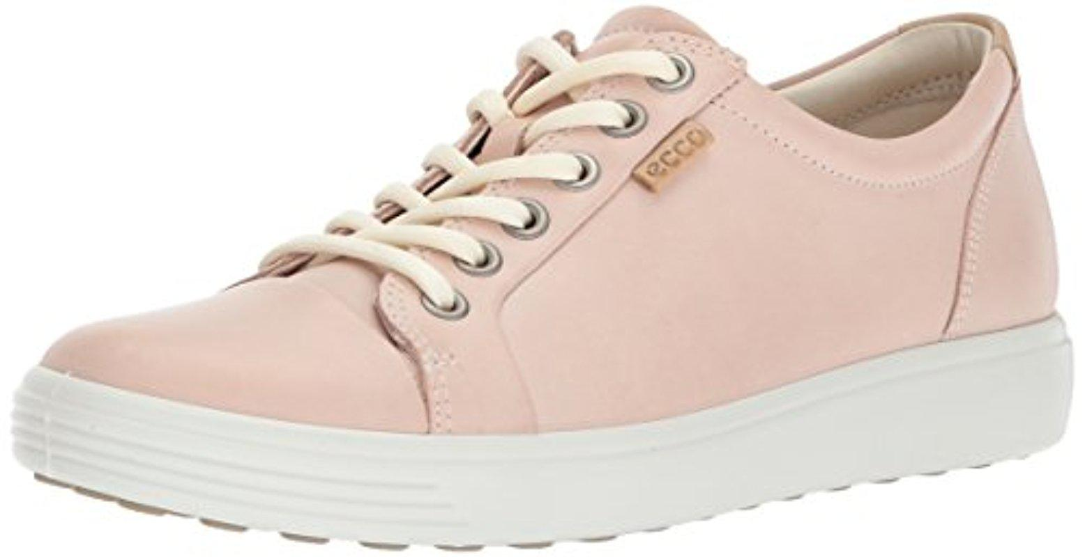 Ecco Leather Soft Vii Sneaker in Pink