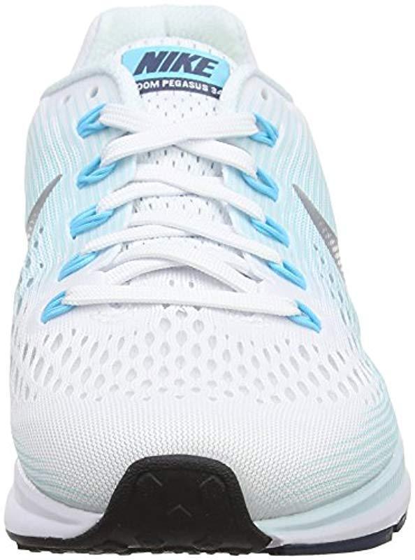 Air Zoom Pegasus 34, Zapatillas de Running para Mujer Nike de color Blanco