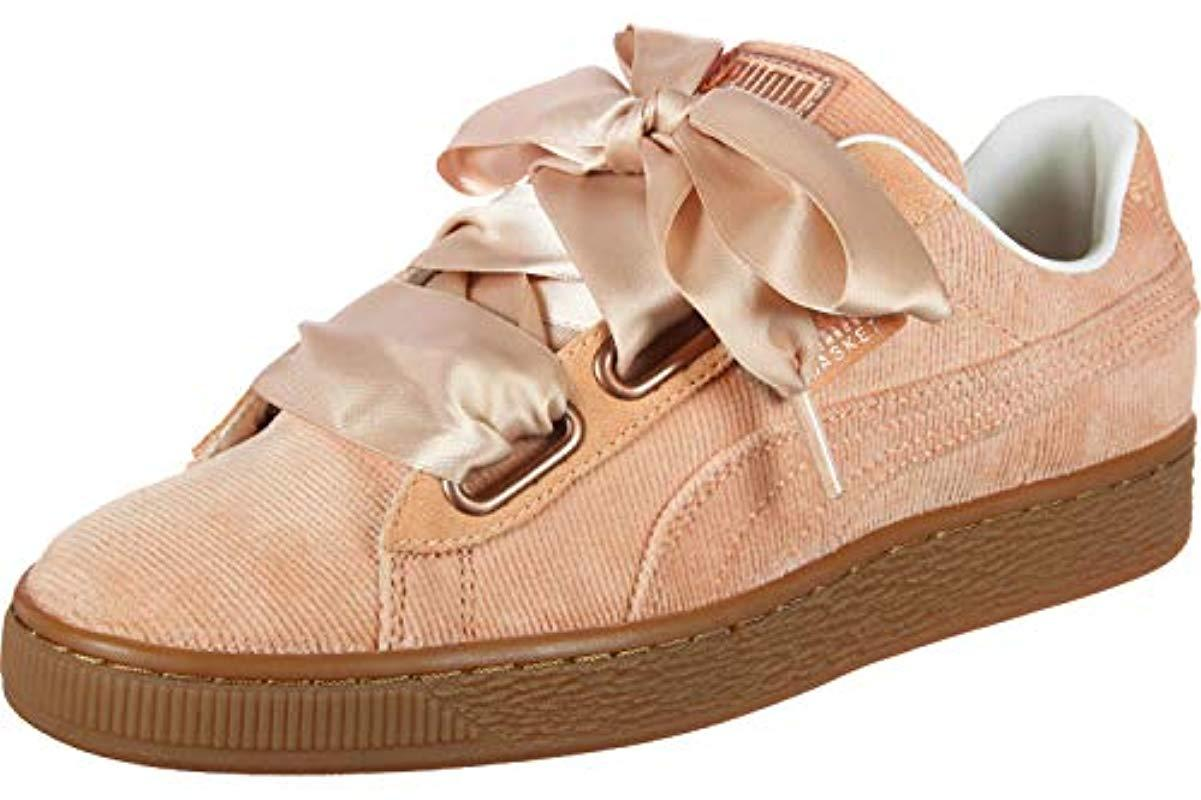 low priced fe733 8a381 Women's Pink S Dusty Coral Corduroy Basket Heart Trainers