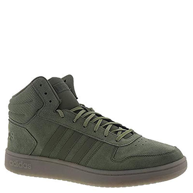 25127de8d82a1 Adidas Green Hoops 2.0 Mid Sneaker for men