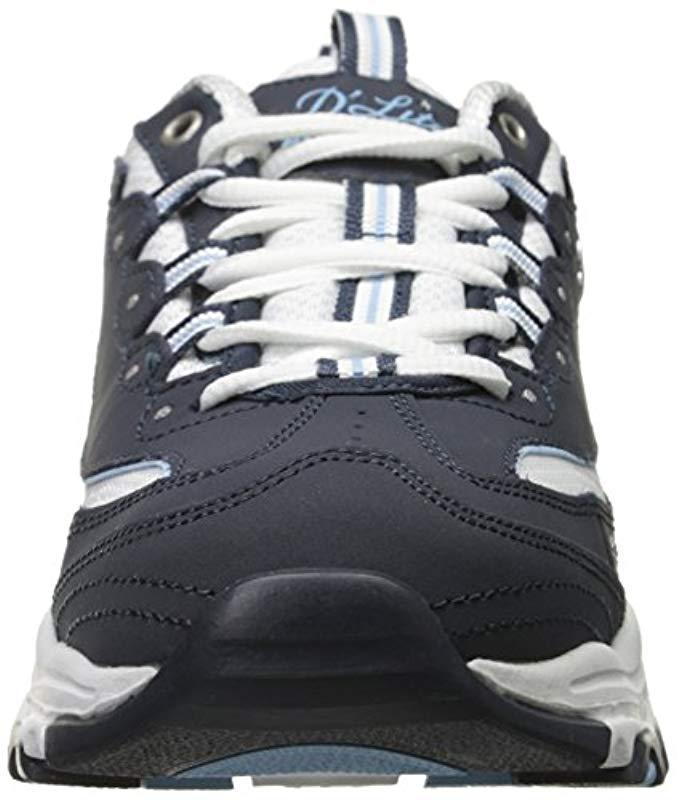 Skechers Sport D'lites Memory Foam Lace-up Sneaker,Biggest Fan Navy/white,6 M Us
