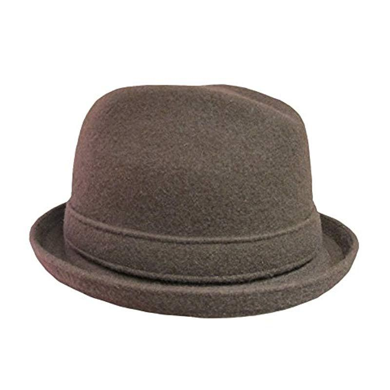 Mens Classic Kangol Wool Player Trilby Fedora Color  Tobacco Brown