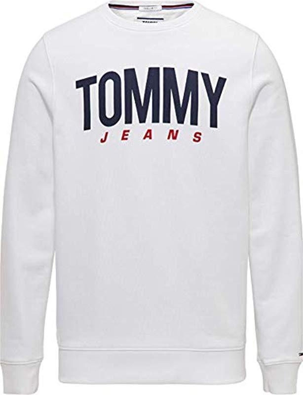 28a88ddd Tommy Hilfiger Tjm Essential Logo Crew Sweatshirt in White for Men ...