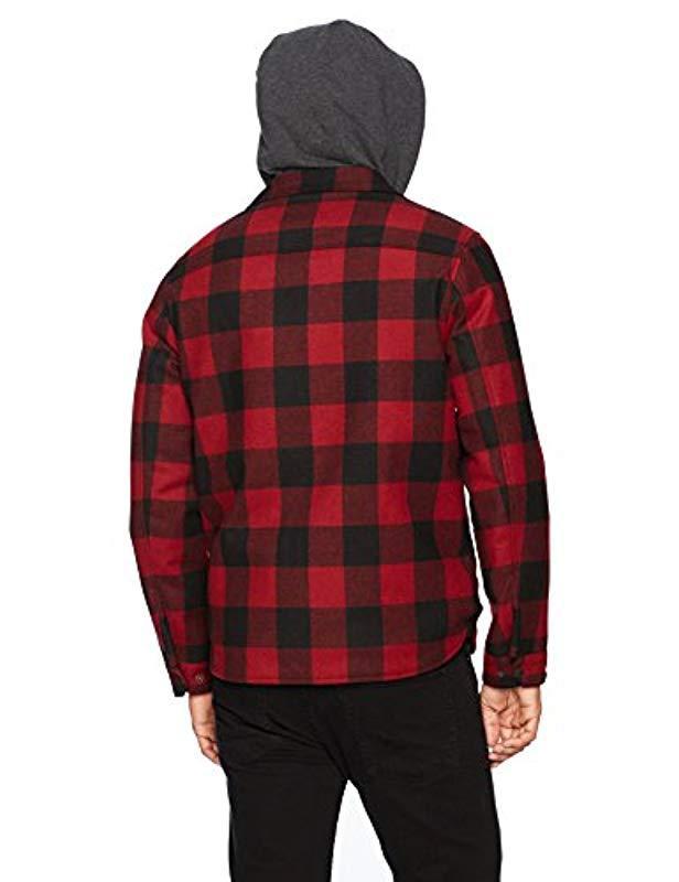 Levi's Fleece Two Pocket Hooded Shirt Jacket in Red for Men
