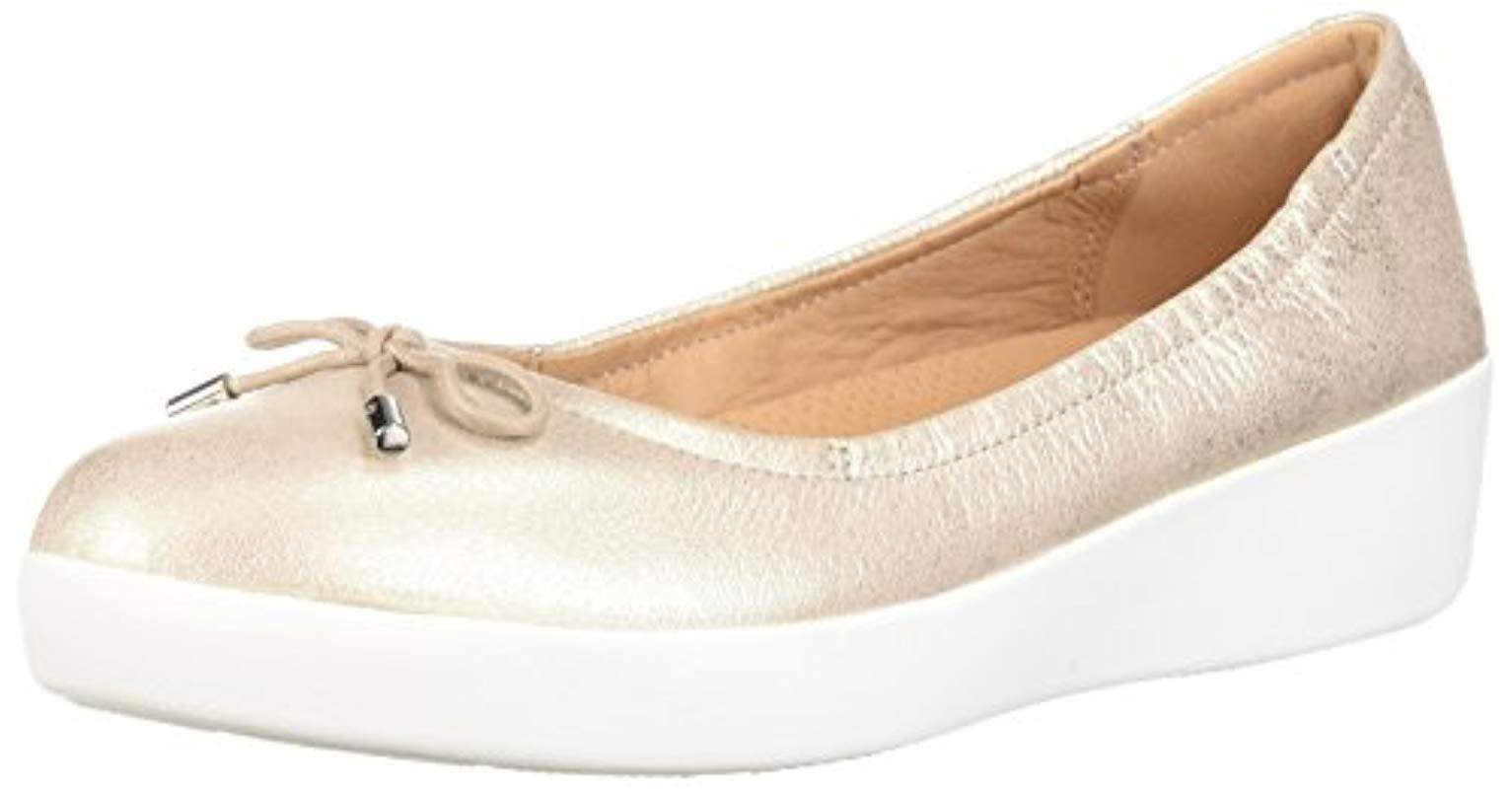 b01e3d417290af Fitflop Superbendy Ballerinas Closed Toe Ballet Flats in Metallic ...