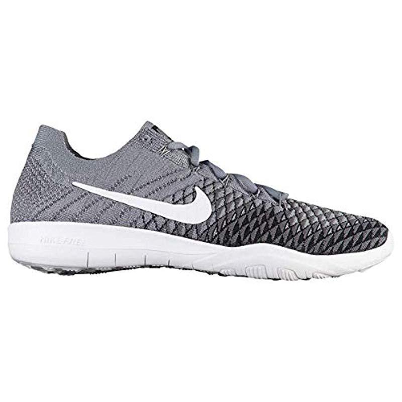 NIKE Free TR Flyknit 2 SZ 8.5 Womens Cross Training Cool GreyWhite Black Dark Grey Shoes