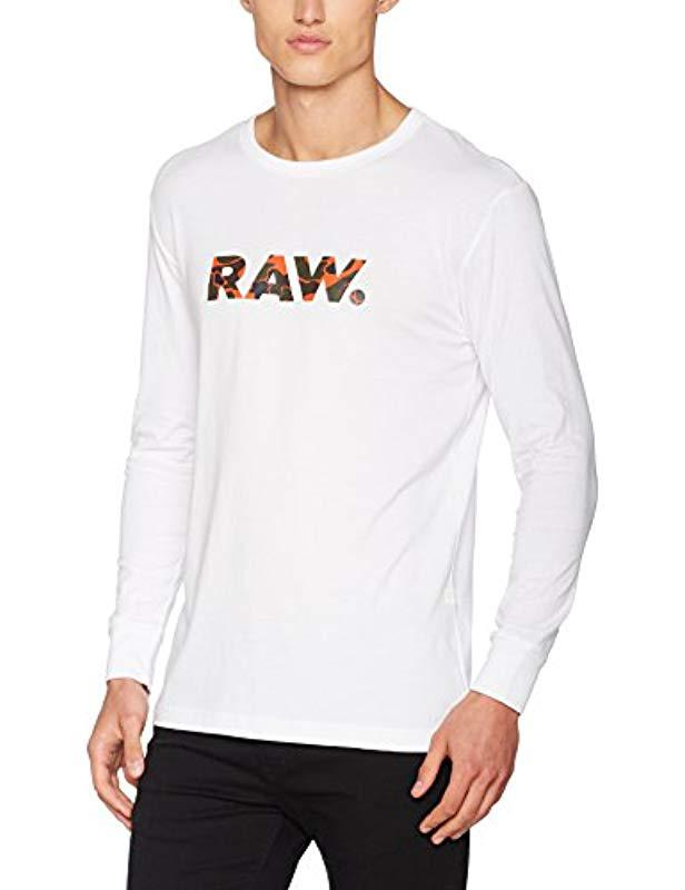 3aaff3c6337 G-Star RAW Riezr R T L s Long Sleeve Top in White for Men - Lyst