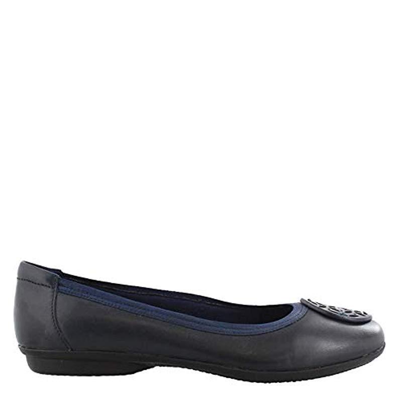 Femmes Clarks Ballerine Plate Lacet Chaussures gracelin Blu