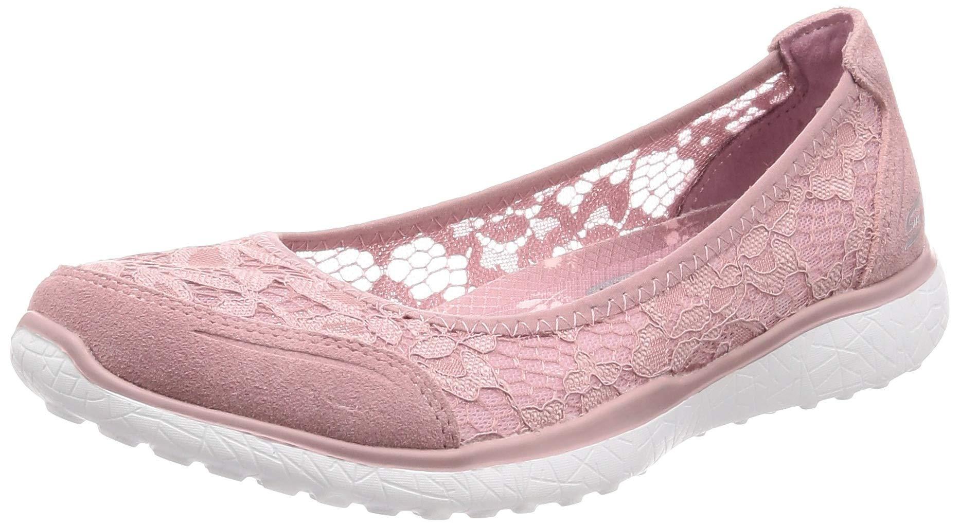 NEW SKECHERS Women Ballerinas Slippers Sneakers MICROBURST SWEET BLOOM Red