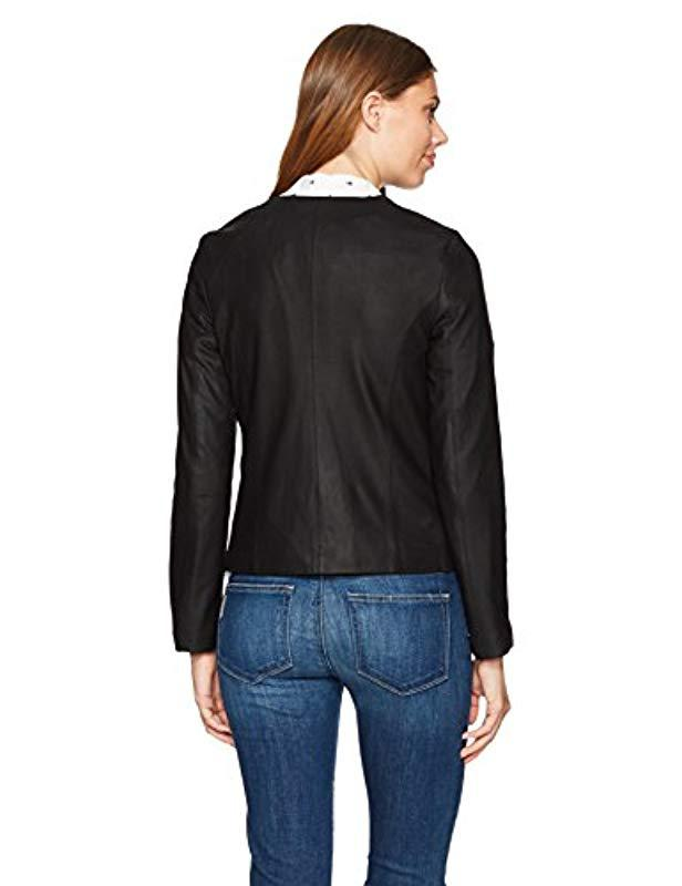 cupcakes and cashmere Womens Deva Drape Front Soft Lamb Leather Jacket