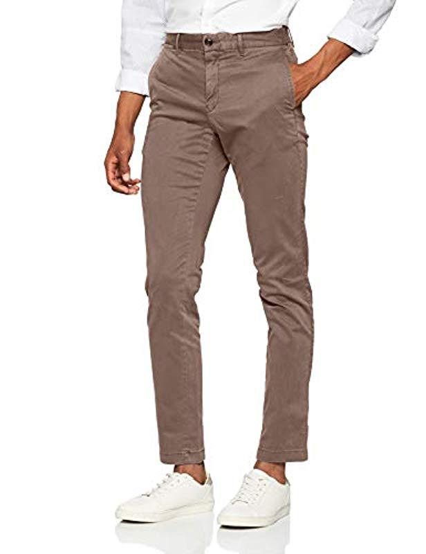 4716d3a7c02ed Tommy Hilfiger Straight Denton Chino Gmd Flex Trouser in Gray for ...