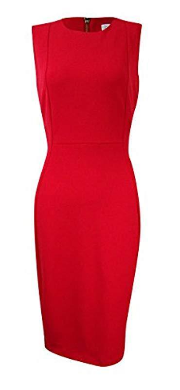 0e3191e7 Calvin Klein Sleeveless Scuba Crepe Sheath Dress in Red - Lyst