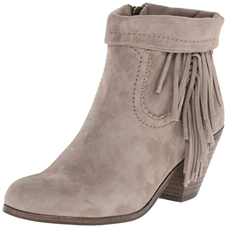 ff94bd1f4492a Lyst - Sam Edelman Louie Fringe-trimmed Ankle Boot in Brown