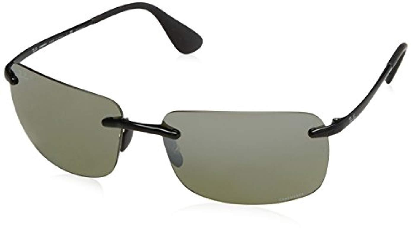 a19dfd46aa Ray-Ban. Men s Rectangle Rimless Sunglasses In Black Silver Mirror  Chromance Polarised Rb4255 601 5j 60
