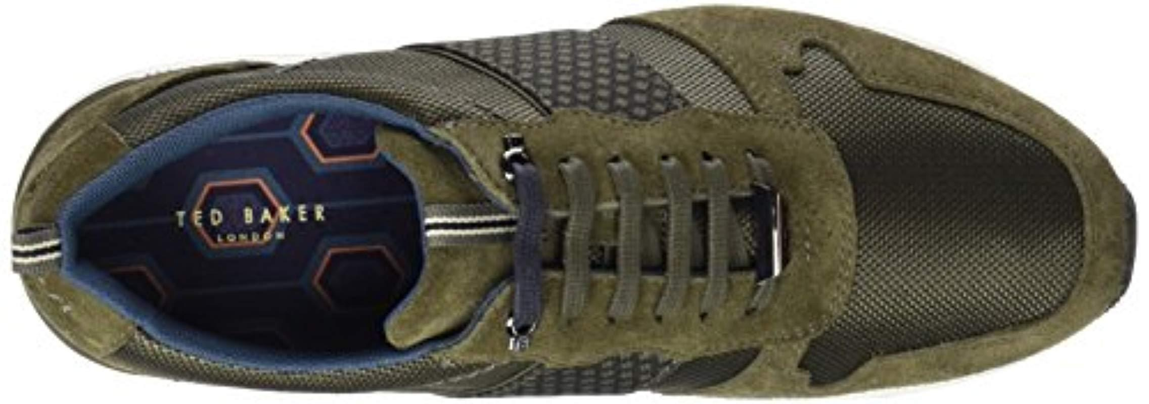 Ted Baker Suede Hebey Runner Style Trainers in Dark Green (Green) for Men
