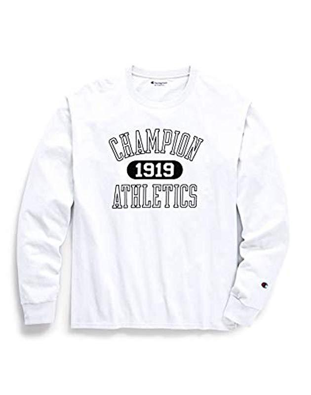 24e44096 Champion - White Classic Jersey Long Sleeve Graphic T-shirt for Men - Lyst.  View fullscreen