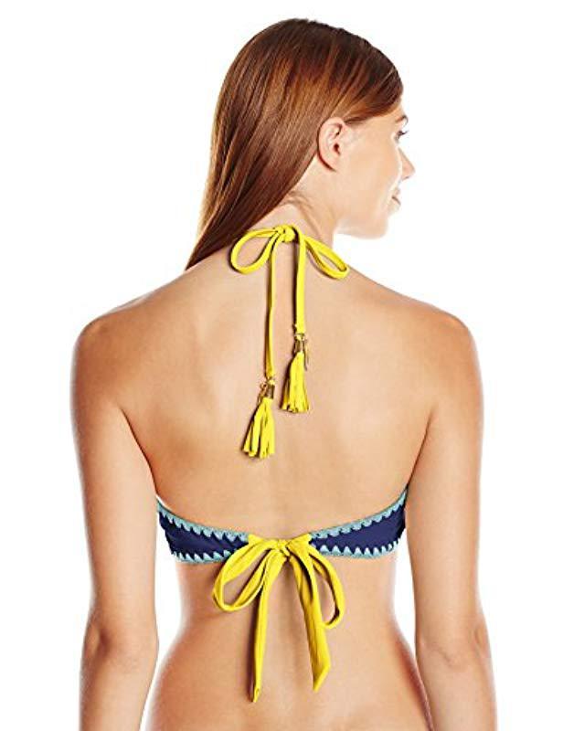 bd8e26df85 Lyst - Jessica Simpson Woodstock Whipstitch Reversible High Neck Halter  Bikini Top in Blue - Save 59%