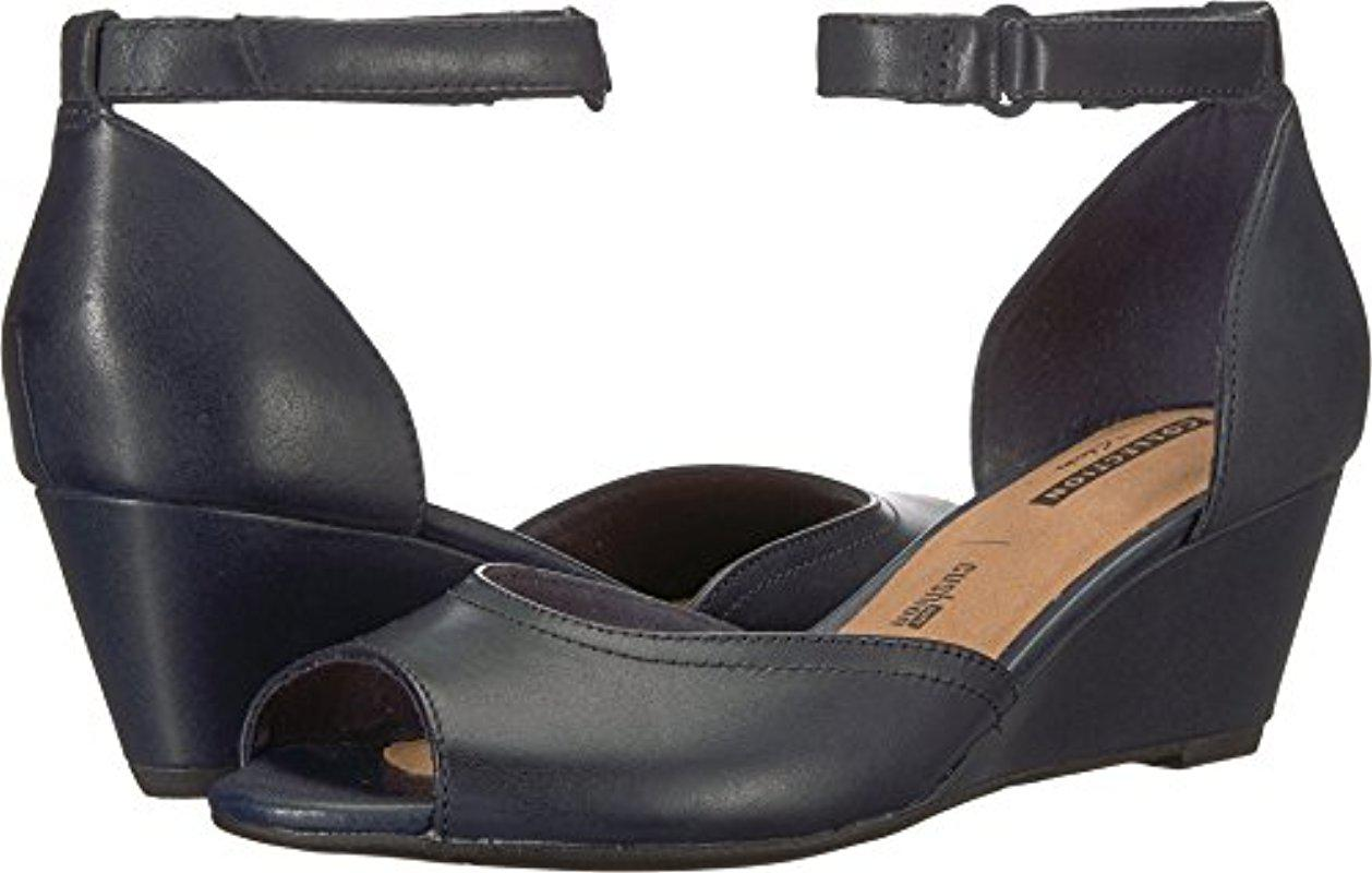 Clarks Flores Raye Leather Wedge Sandal - Wide Width Available KYRnH