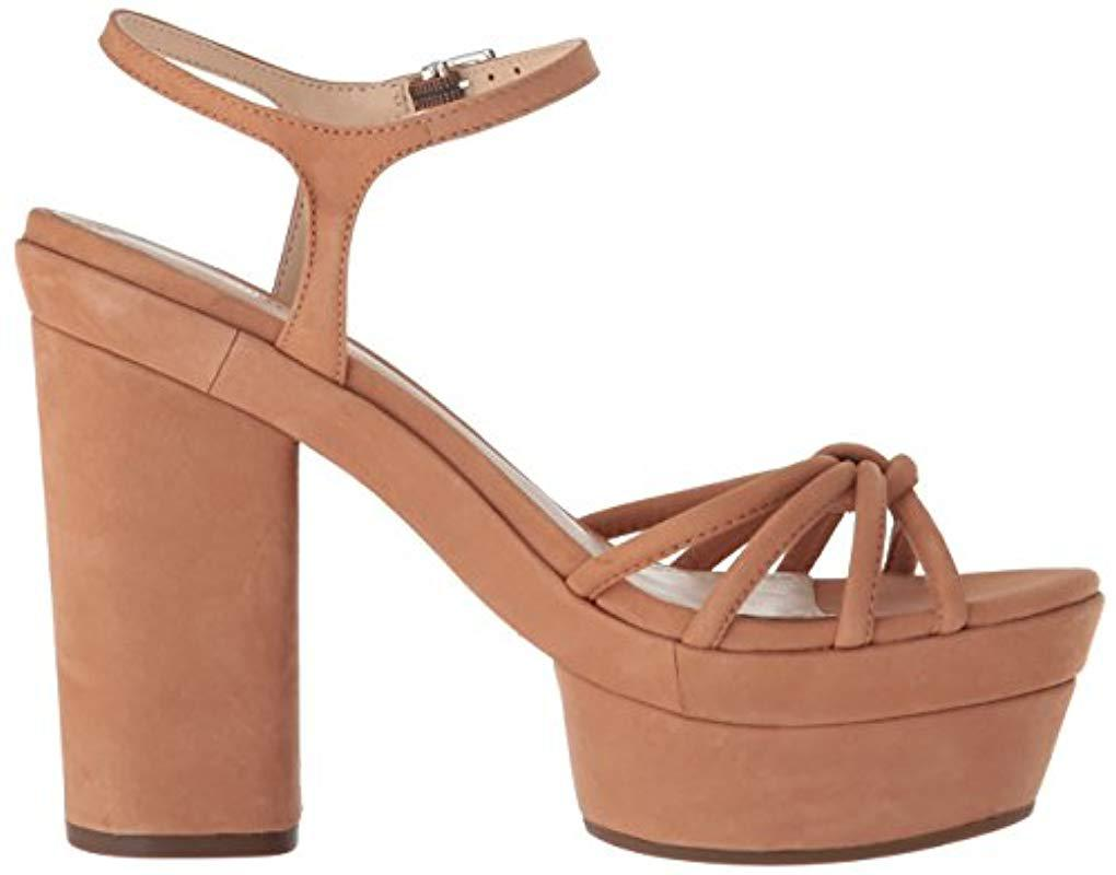 SCHUTZ Faubina Heeled Sandal Toasted Nut Tan Leather Block Heel Platform Pump