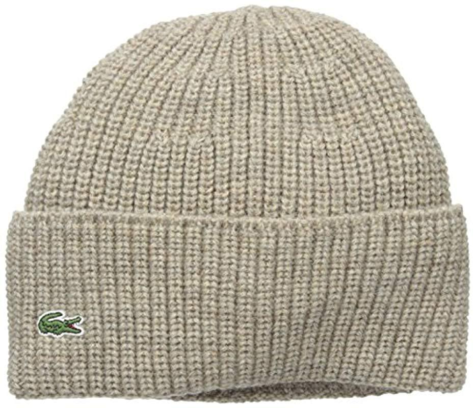d74d229ca41 Lyst - Lacoste Rib Knitted Contrast Beanie for Men
