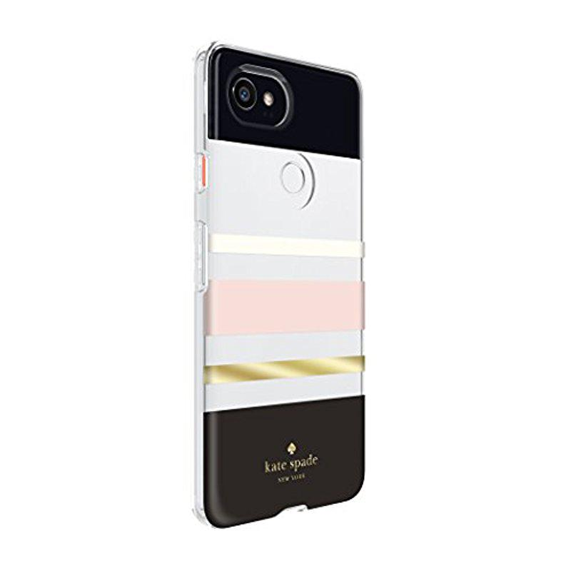 more photos da04c 3d11d Kate Spade Flexible Hardshell Case For Google Pixel 2 Xl - Multi Charlotte  Stripe Black/cream/blush/gold
