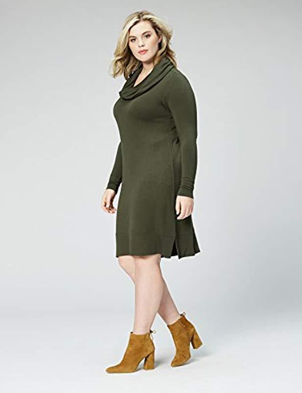 Amazon Brand - Plus Size Supersoft Terry Long-sleeve Cowl Neck Dress